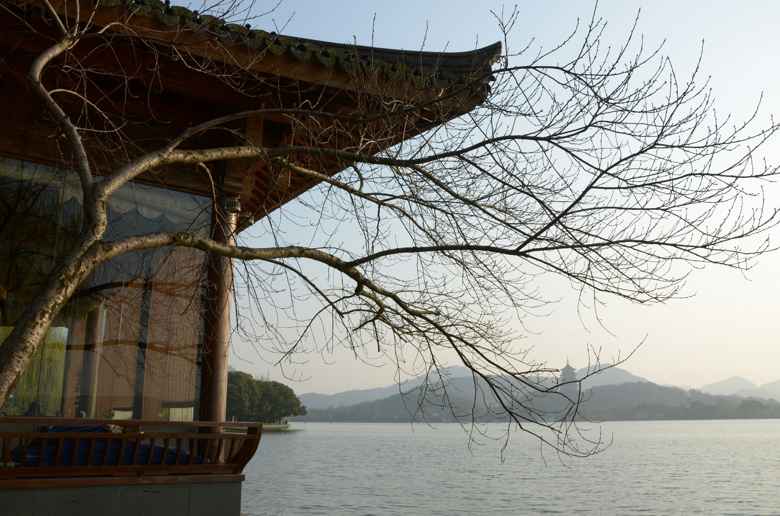 water, built structure, architecture, bare tree, waterfront, river, building exterior, sky, lake, tree, nature, bridge - man made structure, mountain, branch, connection, tranquility, clear sky, day, outdoors, tranquil scene