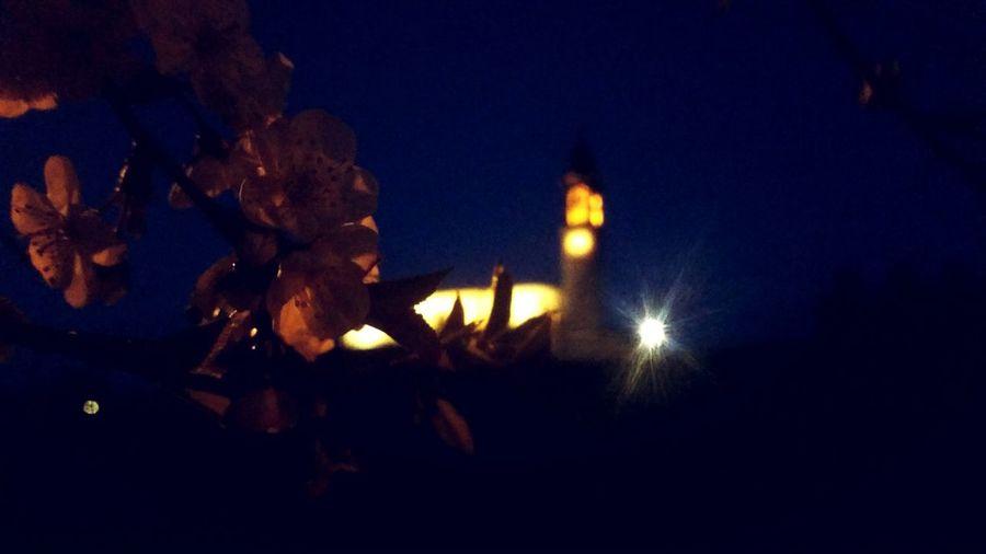Church Night Flower Panoramic Mountain Blue Mountain Blue Blue Sky Springtime Spring Moon Diya - Oil Lamp