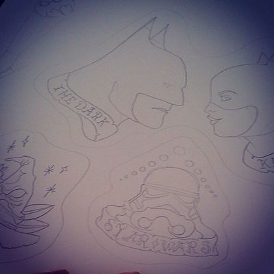 In progress Tattoosketch Pixiistyle Pixiiart Artbypixii pixiistyle oldschool chool lovetodoit harrypotter bonnet starwars stormtrooper thedarknight batman catwoman batsignal