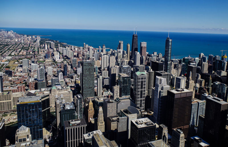City Chicago skyline and big office buildings Architecture Chicago City City Life Cityscape Downtown Financial District  Michigan Modern North America Skyline USA America Building Building Exterior Built Structure District Highrise Metropolis Office Building Skyscraper Tower Urban Skyline