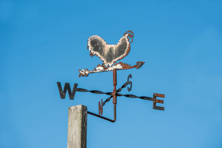 Rusty weathercock in a garden shows where the wind blows from 17.62° Blue Sky Bird Nature Animal Themes Weather Vane Sign Arrow Clear Sky Direction Arrow Symbol West North East South Wind Blowing Meteorology Meteorological Old Rusty Rusty Metal Weathercock Steel
