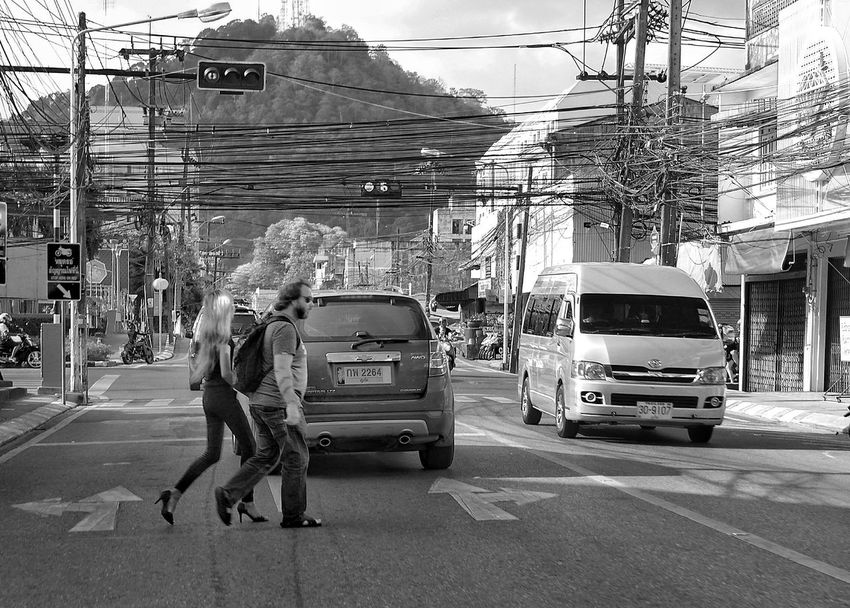 The Street Photographer - 2017 EyeEm Awards Car Transportation Land Vehicle Street Mode Of Transport Outdoors City Road Built Structure Day Adult Adults Only Men People Woman Traffic Lights Crossing The Street Phuket Old Town Phuket Town Phuket,Thailand