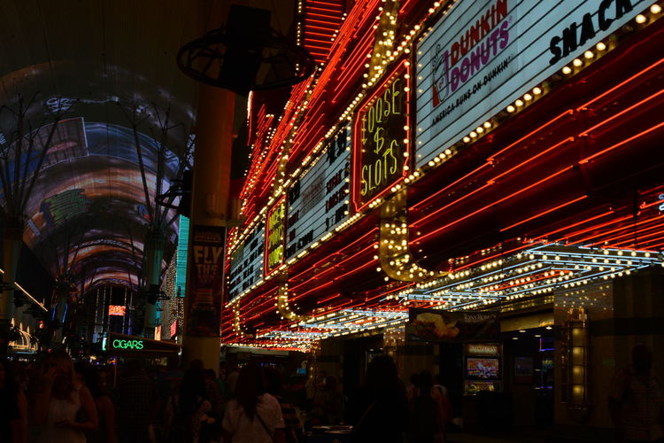 Illuminated modern city at night