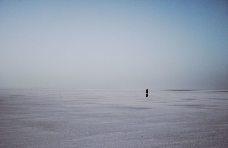 Mid Distance Of Man Standing On Landscape Against Clear Sky