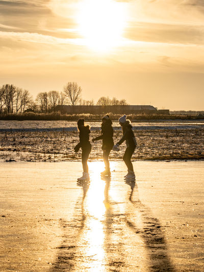 Silhouette people on beach against sky during sunset
