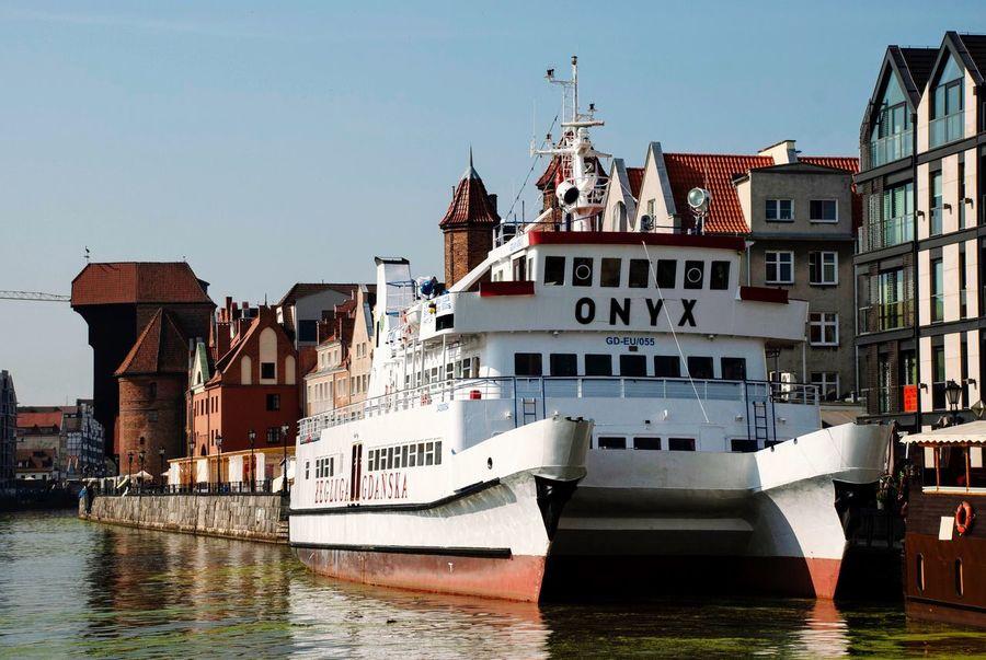 Vessel Landmark Architecture Onyx Motława Danzig Gdansk Poland Polish Water Nautical Vessel Transportation Building Exterior Waterfront Mode Of Transportation River City Ship Passenger Craft