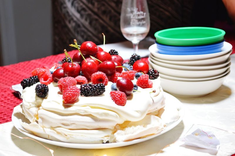 Close-up of fruit cake on table