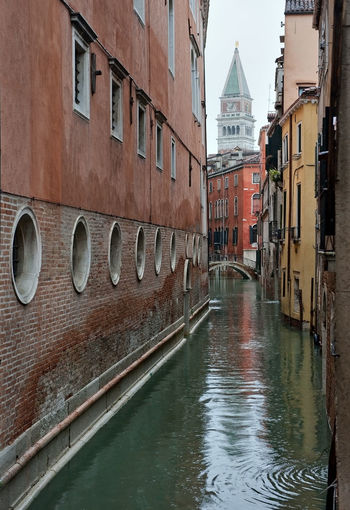 Italy, Venice, Grand Canal, Piazza San Marco, the flood, the Cathedral of San Marco Arch Architecture Building Exterior Built Structure Canal Connection Culture Day Diminishing Perspective Exterior In A Row Incidental People Leading Mode Of Transport Narrow Outdoors The Way Forward Transportation Urban Water