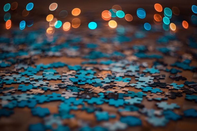 Close-up of puzzles on table