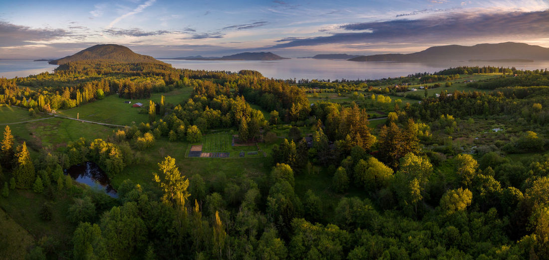 Lummi Island from Above. A panoramic view of Lummi Island and the San Juan Islands from 350ft during a lovely sunset. Beauty In Nature Cloud - Sky Drone  Forest Landscape Lummi Island Mountain Nature No People Ocean Outdoors Pacific Northwest  Panorama Puget Sound Rural Scene San Juan Islands Scenics Sea Sky Sunset Tranquil Scene Tree Trees Washington Water