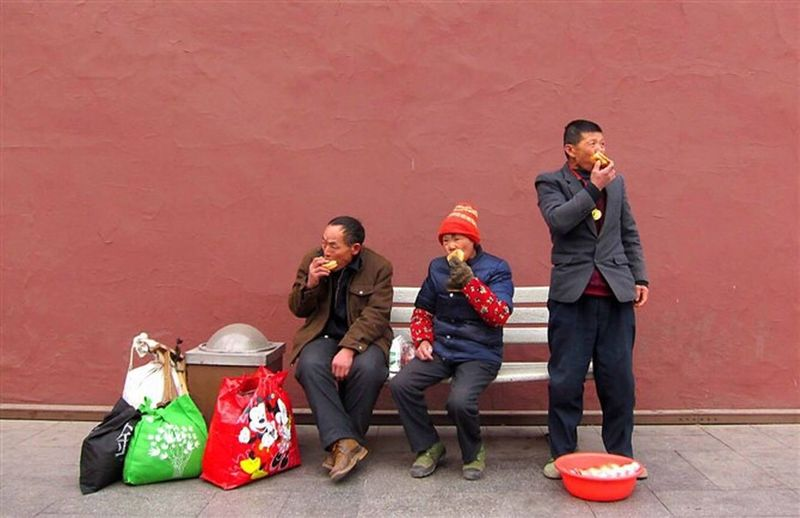 2011 November,Beijing,three migrant workers were eating food while looking around something. Full Length Child Travel Tradition Smiling People Happiness Friendship Outdoors Holiday - Event Cheerful Uniform Togetherness Adult Day china beijing First Eyeem Photo