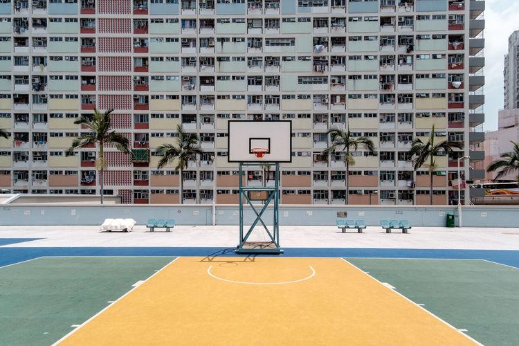 Basketball hoop in city
