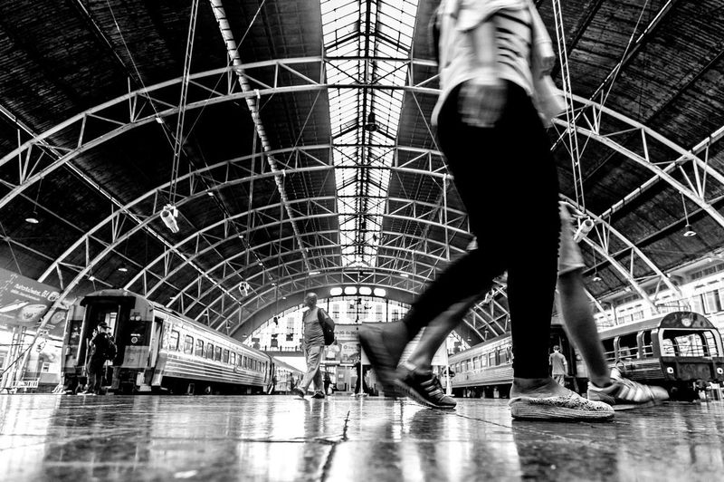 Train Station Bangkok Thailand Center Indoors  Lifestyles Standing Human Leg Architecture Walk People Black And White Transportation Transport First Eyeem Photo Streetphotography