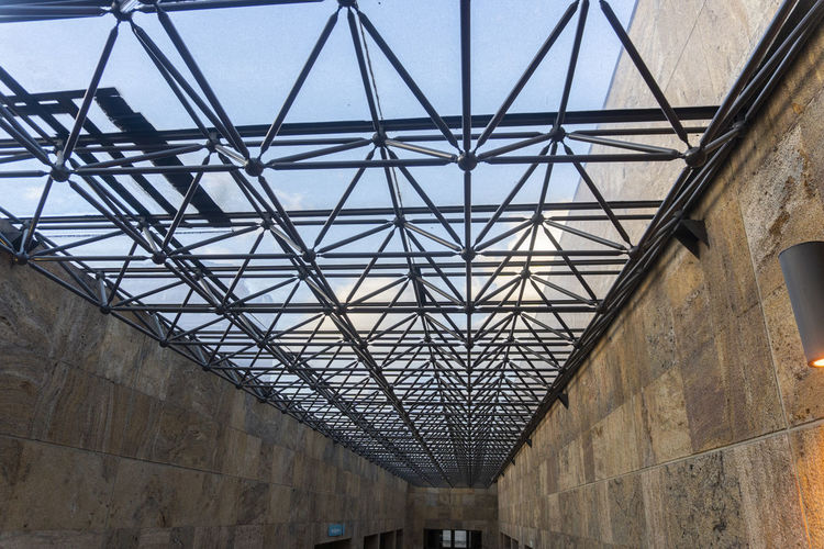 Architecture Built Structure Low Angle View Day No People Pattern Metal Indoors  Glass - Material Transportation Sunlight Ceiling Arch Connection Nature Bridge Roof Industry Girder