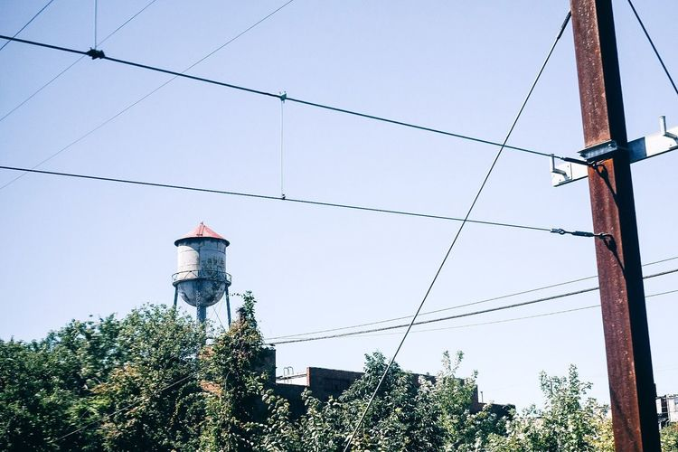 Cable Connection Electricity  Low Angle View Outdoors Pole Power Line  Power Supply Street Light Water Water Tower Pastel Power