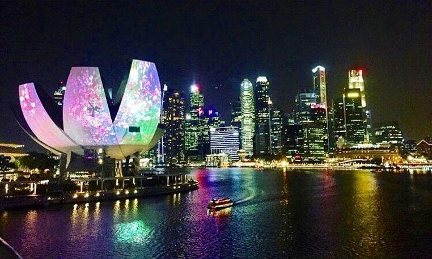 Marina Bay Artsciencemuseum Waterfront City Cityscapes Singapore Ilightmarinabay The Architect - 2016 EyeEm Awards