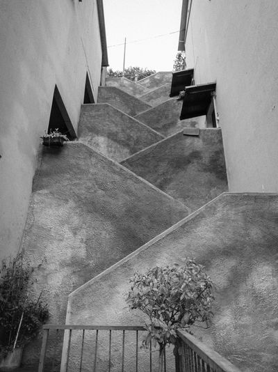 Architecture Blackandwhite Building Exterior Day Low Angle View No People Outside Stairs Stone Material Tall - High The Way Up