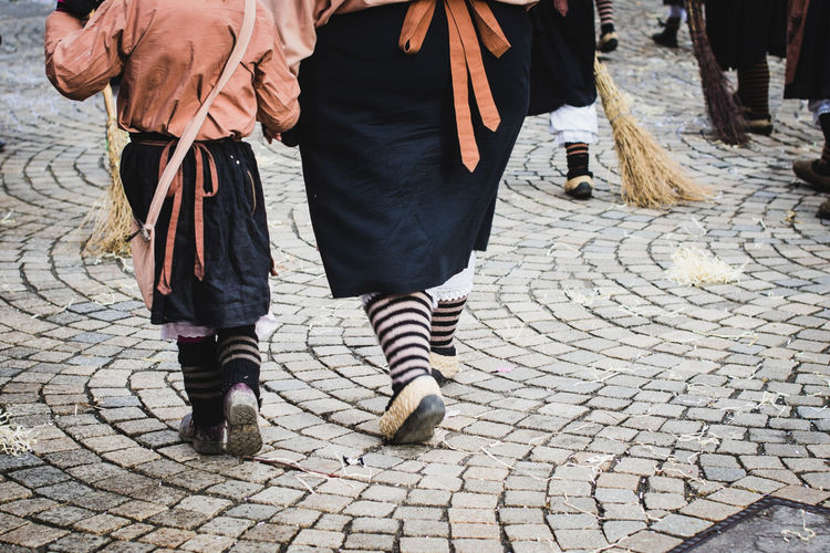 Traditional carnival in South Germany - Swabian-Alemannic Fastnacht. Two witches walking on the street Carnival Fun Germany 🇩🇪 Deutschland Tradition Costumes Culture Day Low Section Outdoors Parade People Real People Street Streetphotography Traditional Walking Witch