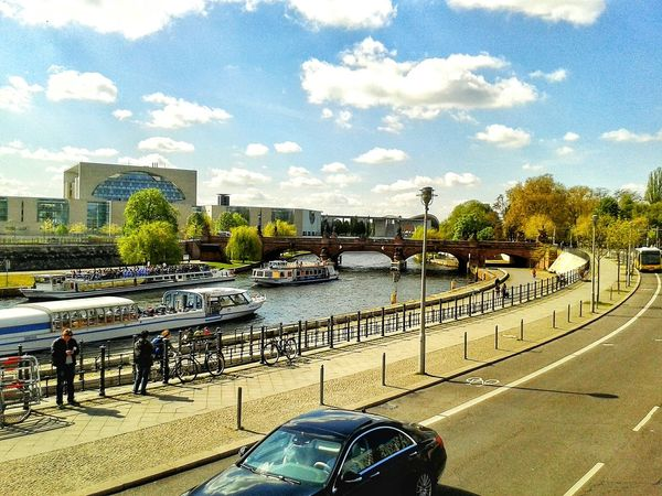 Day Sky Cloud - Sky Water River Built Structure Architecture Outdoors Car Bus City People Tourism Berlin Tree Building Exterior Bridge Colorful Ships Steamship Shiptour Berlin Photography City Collection City Photography Berlin Collection