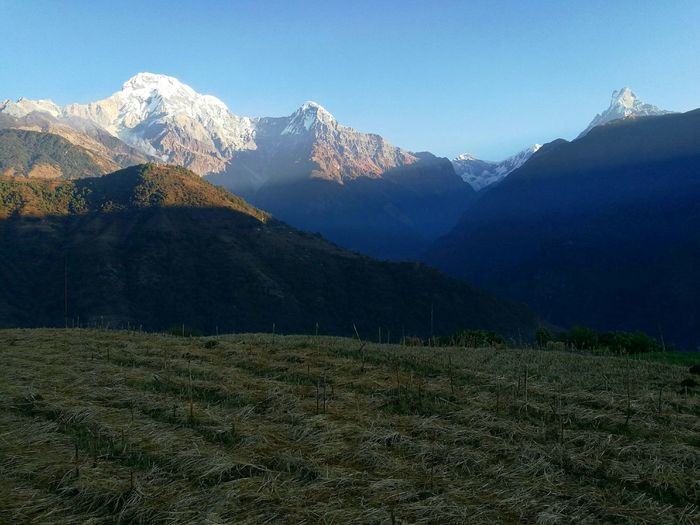 Annapurna Ranges Mountain Snowcapped Mountain Mountain Range Landscape Mountain Peak Beauty In Nature Outdoors No People Annapurna Nepal P9leica Huaweiphotography Huawei Huawei P9 Plus Travel Photography Blue Sky Ghandruk Nepal Finding New Frontiers