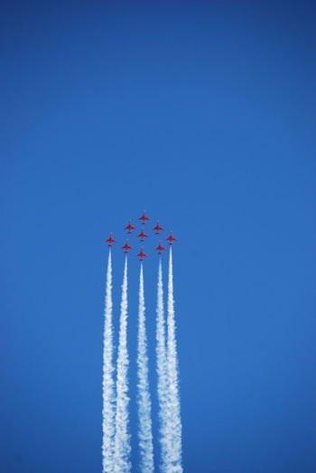 Low Angle View Of Airplanes Against Clear Blue Sky