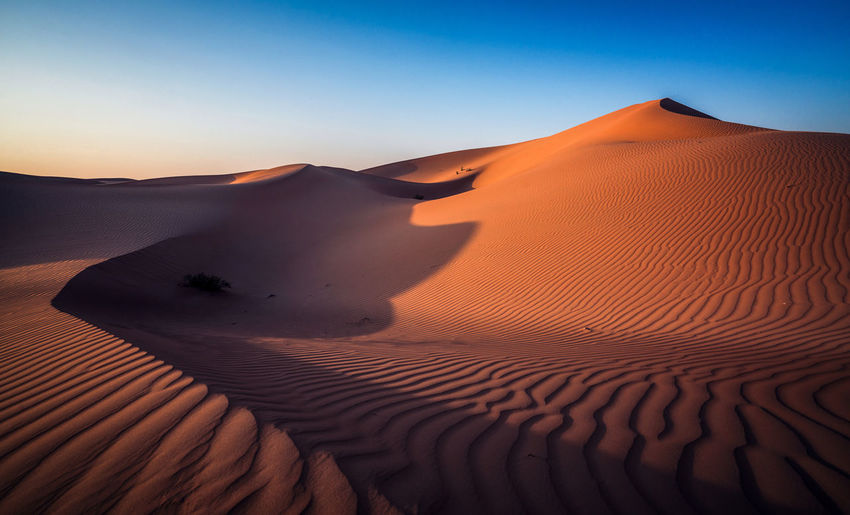Empty desert just before sunset Abu Dhabi Middle East Arid Climate Beauty In Nature Clear Sky Day Desert Extreme Terrain Full Frame Landscape Nature No People Outdoors Pattern Physical Geography Sand Sand Dune Scenics Shadows Sunset Tranquil Scene Tranquility Travel Destinations The Great Outdoors - 2018 EyeEm Awards