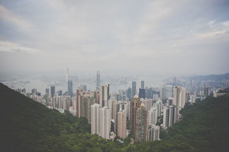 High angle view of cityscape from victoria peak, hong kong