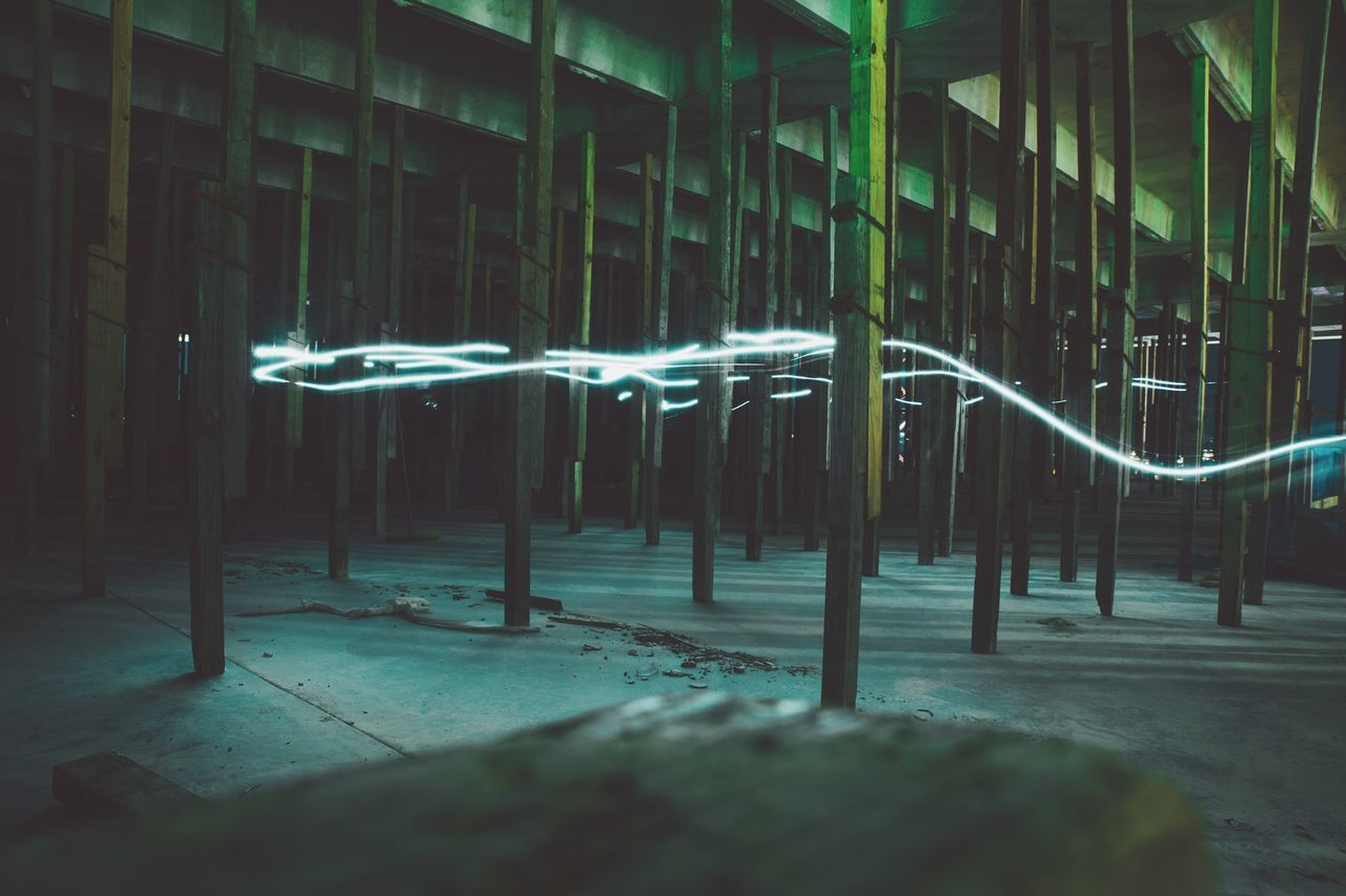 Light Trail In Abandoned Building
