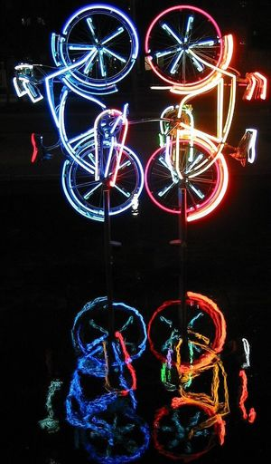 Multi colored light painting at night