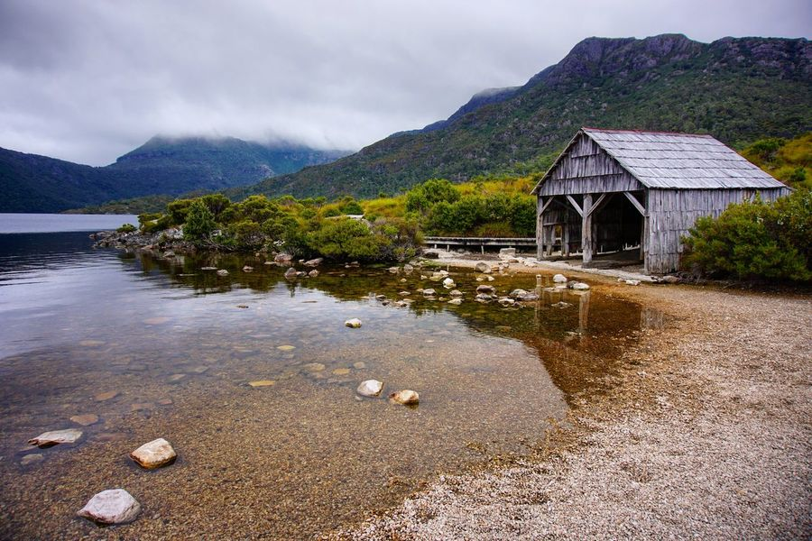boathouse Boathouse Cradle Mountain Mountain Built Structure Outdoors No People Water Architecture Sky Day