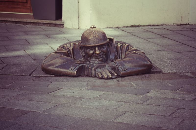 Čumil statue in Bratislava, Slovakia 🇸🇰 Bratislava, Slovakia Gully Cover Old Town Statue Travel Work Working Architecture Bratislava Built Structure City Cumil Day Footpath Men Paving Stone People Relaxation Sidewalk Social Issues Stone Street Street Art Streetphotography Unemployment