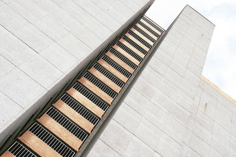 High angle view of staircase by building