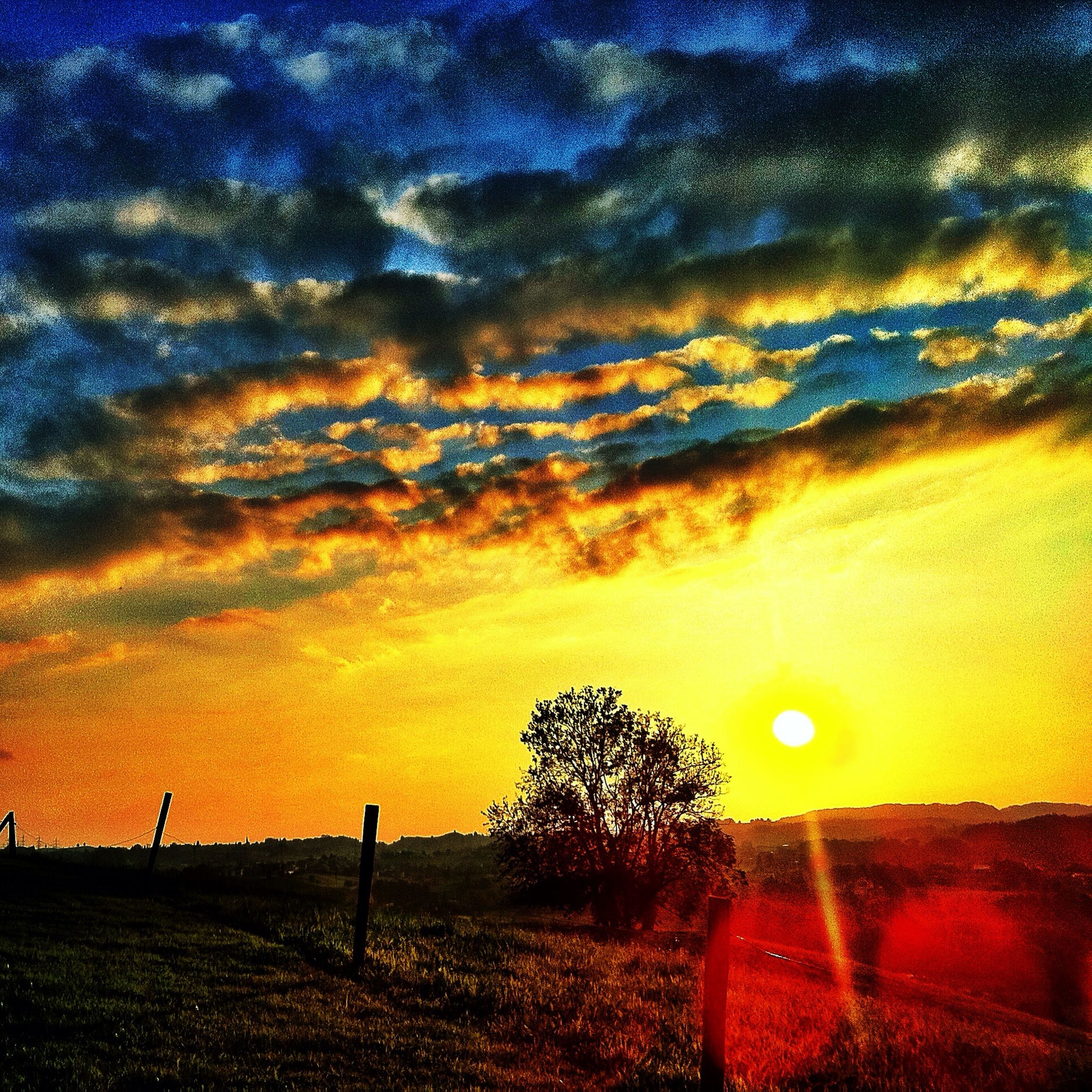 sunset, sky, scenics, tranquil scene, cloud - sky, beauty in nature, tranquility, dramatic sky, orange color, landscape, silhouette, field, nature, idyllic, cloud, cloudy, atmospheric mood, moody sky, tree, outdoors