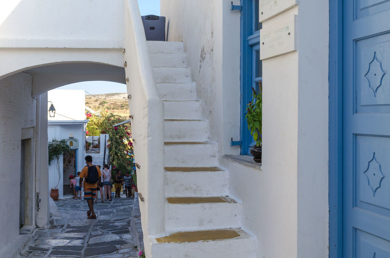 Architectural detail in Paros, Greece Paros Stairs Steps Alley Alleyway Architecture Building Exterior Built Structure Cyclades Day Door Greece House Lefkes Lifestyles Outdoors People Traditional Walking Whitewashed Adventures In The City