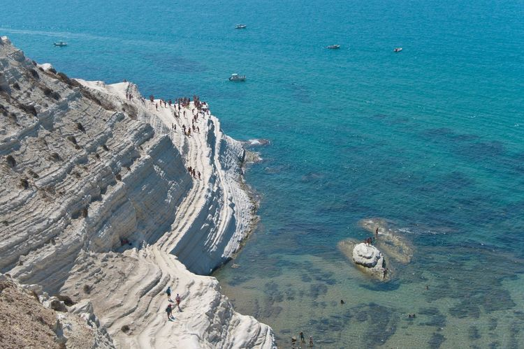 Scala dei turchi Costa Sud - Sicilia Sea Water Nautical Vessel High Angle View Boat Transportation Blue Scenics Tranquil Scene Travel Travel Destinations Beauty In Nature Tranquility Mode Of Transport Idyllic Nature Tourism Calm Aerial View Cliff Sea And Sky Mountain Nature Coastline
