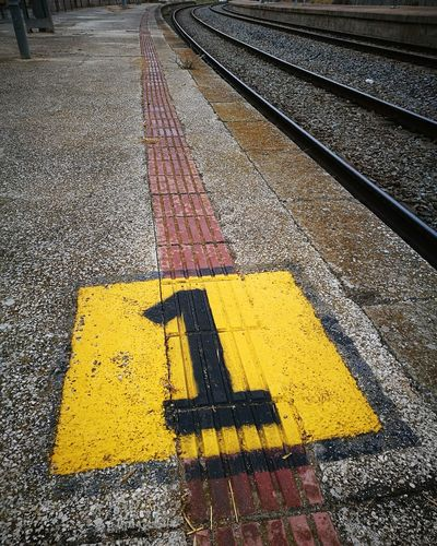 1 Number 1 Numbers And Lines Yellow Train Station Forgetplaces Shooting Photos Abandonedbuilding Travel Destinations Photography Themes Artistic Expression Building Exterior Photographing Textured  Strange Things Text Low Angle View Estación De Tren