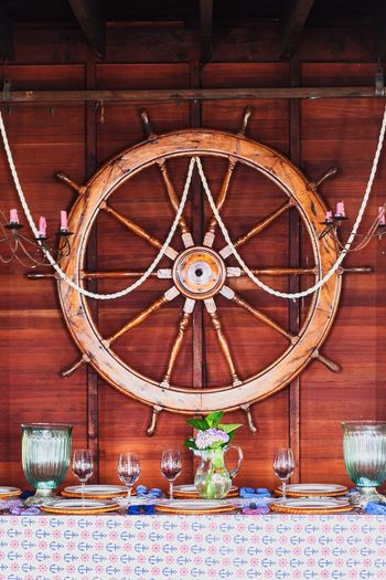 Wheel Glasses Ship Wheel Ship Steering Wheel Wheel Nautical Decor Nautical Nautical Scene Nautical Theme Dinner Time Dinner Dishes Dinner Table Ships Wheel EyeEm Selects Wood - Material Indoors  No People Day Home Showcase Interior