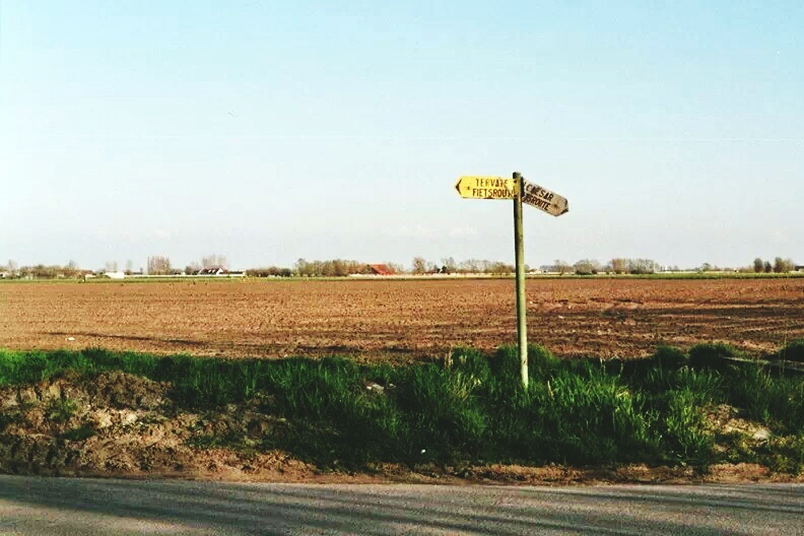 clear sky, copy space, field, landscape, communication, road sign, yellow, tranquility, road, tranquil scene, information sign, grass, text, nature, sky, sign, western script, guidance, day, tree