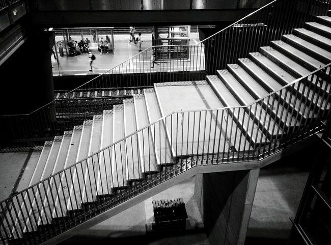 Day 343 - Ostkreuz Berlin Blackandwhite Streetphotography Streetphoto_bw Monochrome Photography Public Transportation Sbahn Lines Stairs 365florianmski 365project Day343