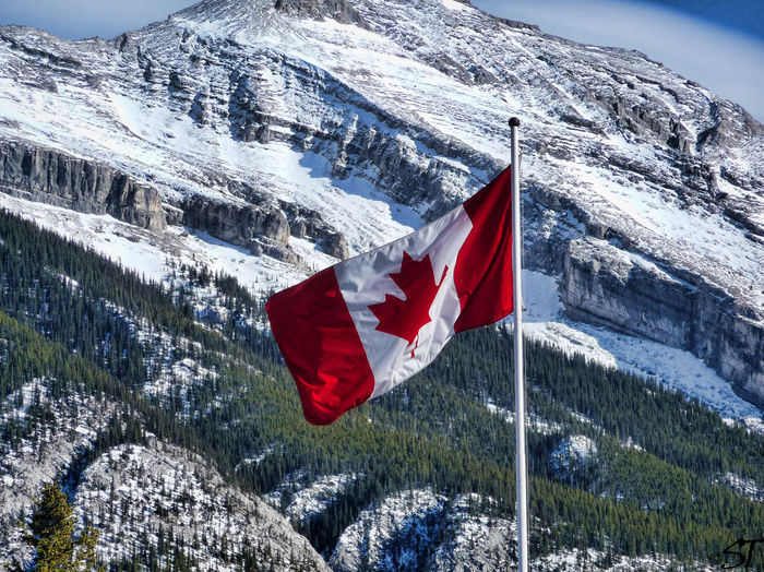 Canadian Flag Against Mountain Landscape