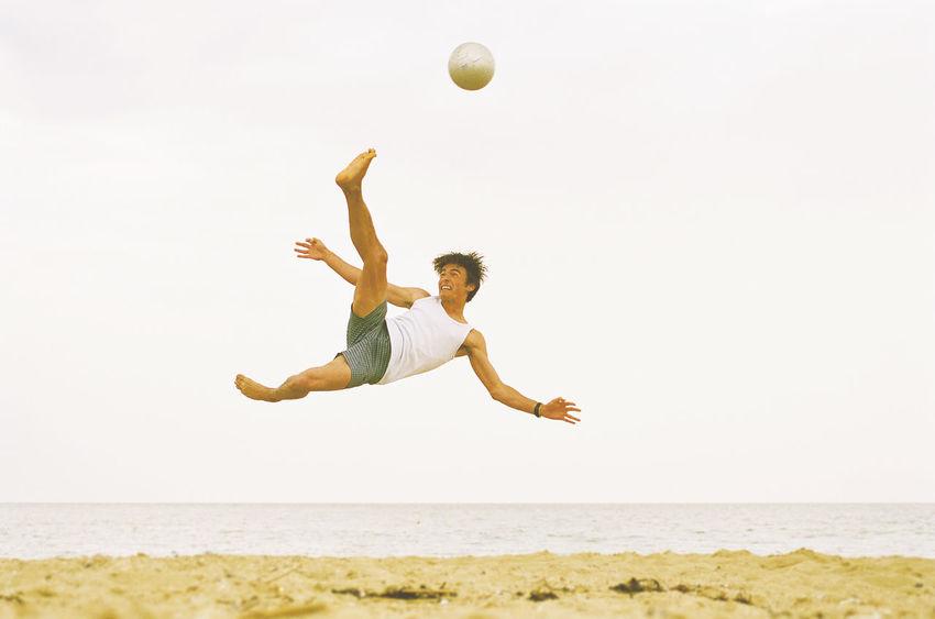 #beach #Football #footballislife #kickintheair #scissorkick #soccer  Activity Agility Ball Beach Carefree Exercising Flexibility Fun Happiness Healthy Lifestyle Leisure Activity Motion One Person Outdoors People Physical Activity Sport Vitality