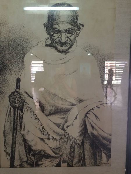 Behind The Mirror Mirror Mirror Picture Gandhiji Mahatma Gandhi Father Of The Nation I Am With Her Walk Mirrored Glass On The Move Move On Move On Eyeem