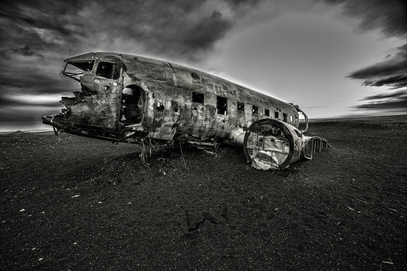 Airplane wreck in field