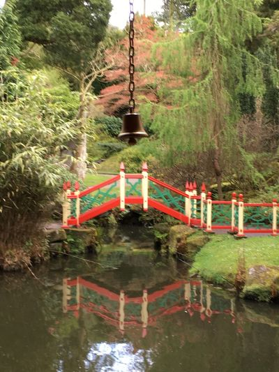 Formal Garden Reflections In The Water Bridge Chinese Garden Chinese Bridge Bell