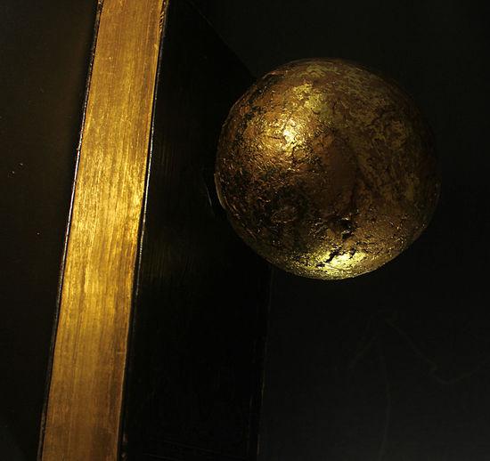 Black Background Floating Golden Sh Floatoing Ball Gild Edge Gold Golden Sphere Old Book Still Life