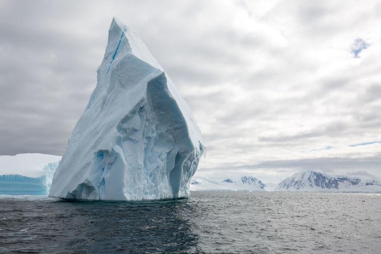 Scenic view of iceberg on sea against sky