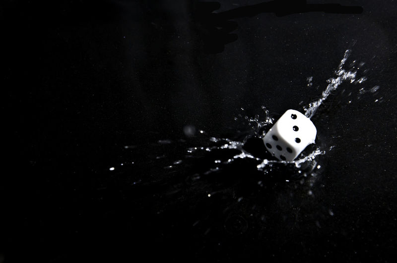 Lucky number three 3 Blackandwhite Dice, Freeze Shots Isolated Lucky Motion Roll Splash, Throwback Water