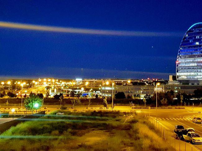 La vela - BBVA City Illuminated Cityscape Blue Sky Architecture Building Exterior Built Structure