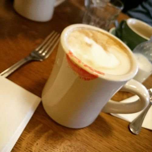 Breakfast Time Coffee Cup Cappuccino Breakfast Redlipstick Food And Drink Coffee - Drink Drink Refreshment Frothy Drink