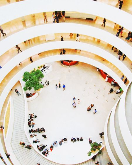 Entrance Guggenheim Museum Lobby Art Crowd Architecture Built Structure Arch Art Museum Exhibition Modern Art